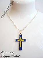 Подвеска кулон крест герб тризуб трезубец Украина