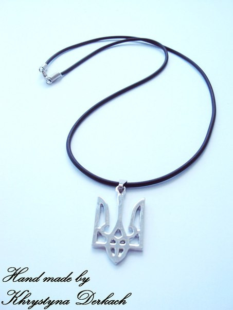 Подвеска кулон тризуб герб України шнур  каучук