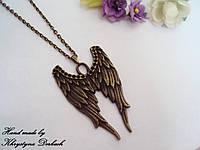 Подвеска кулон Крылья ангела бронза с цепочкой