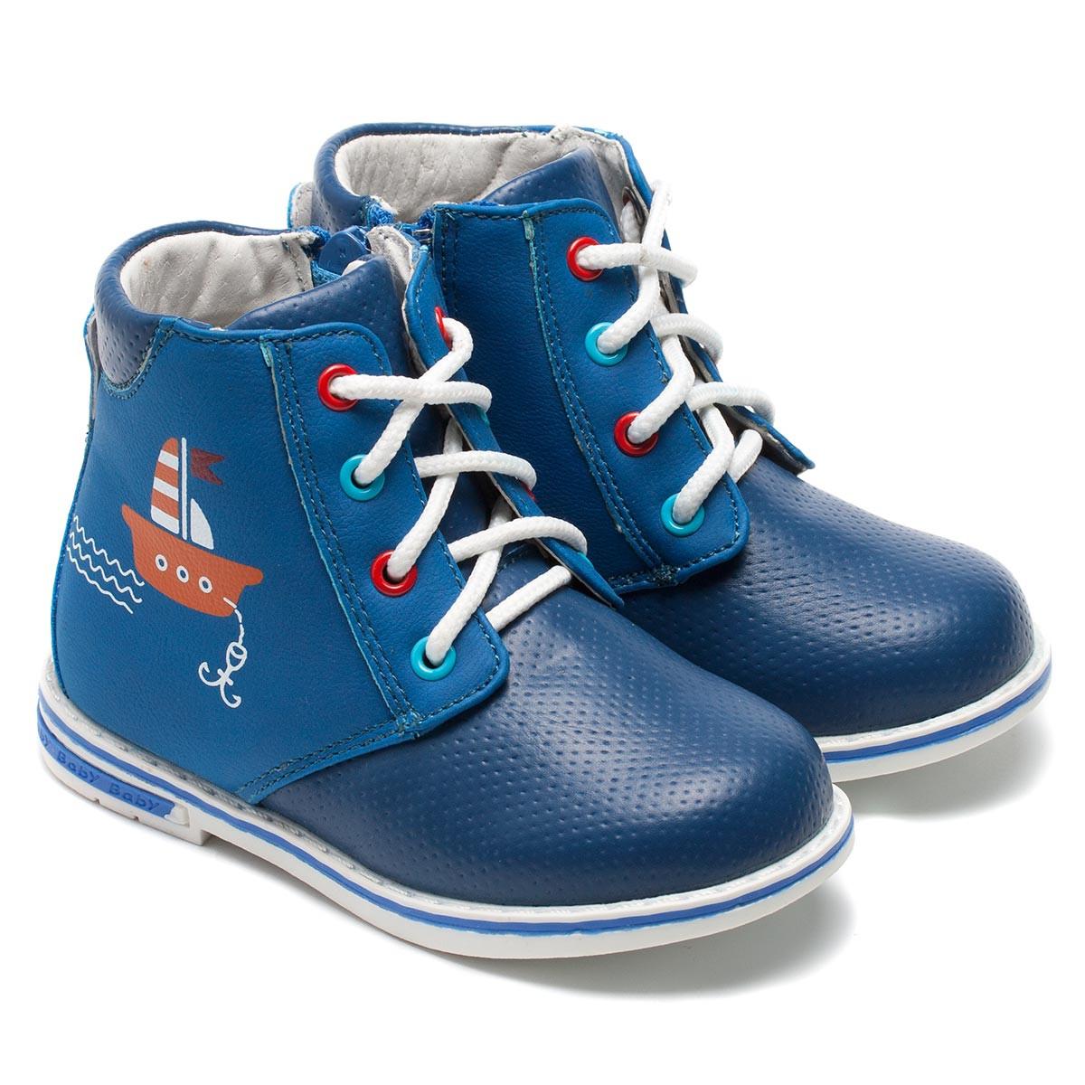 Ботинки B&G для мальчика, синие на шнуровке, размер 22-26