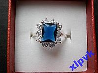 Кольцо темно-синий сапфир 9 х 7 мм-18р-925-ИНДИЯ
