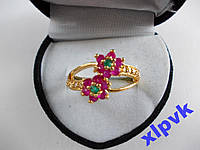 Кольцо Нат.12 Рубинов-2 Цветка-18.5р-375 пр-ИНДИЯ