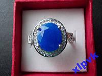 Кольцо Натуральный синий сапфир 12 х10 мм-16.8 р-S 925-ИНДИЯ