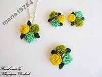 Набор Цветок букет серьги и подвеска и кольцо