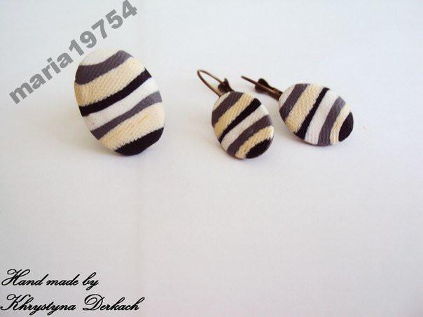 Набор Полосы зебра серьги и кольцо