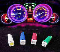 Свето диодная лампа  T5 1SMD5050 12V 4шт цвета