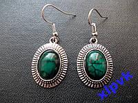 Серьги Бирюза Темная14х9мм-Тибетское серебро-ИНДИЯ