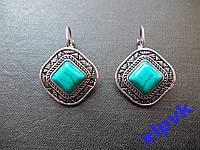 Серьги Бирюза 10х10мм-Тибетское серебро.ИНДИЯ
