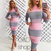 Вязаное стильное платье-резинка (шерсть с акрилом) (5 цветов)
