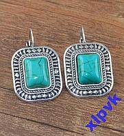 Серьги Бирюза 13х9мм-Тибетское серебро.ИНДИЯ