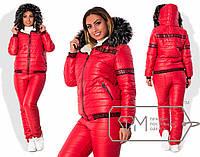 Стильный тёплый женский костюм (стёганные брюки и курточка, овчина, капюшон, мех)  (р. 48-54 )