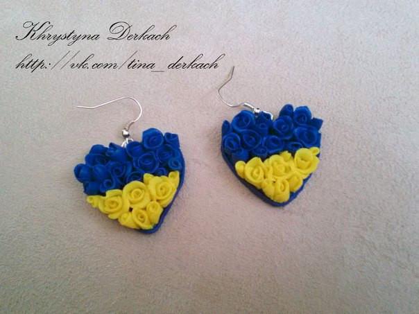 Серьги, сережки Патриот сердце Україна Украина