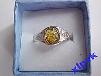 Кольцо Зеленый Янтарь-Овальчик- 17.8 р-Серебро 925-Польша
