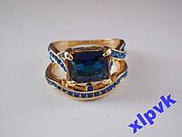 Кольцо 2 в 1,Синие Сапфиры-17.8 р-18k GP-ИНДИЯ