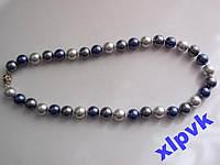 Ожерелье Черно-Сине-Серый Жемчуг-12мм-Австралия