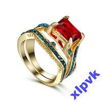 Двойное Кольцо,Рубин 10 х 8 мм,52 Аквамарина-17 р-18k GP-ИНДИЯ