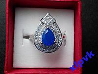 Кольцо Натуральный синий сапфир 9 х 6 мм,18.2 р-925- ИНДИЯ-SUPER