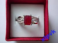Кольцо натуральный рубин 8х6 мм,28 Сапфиров-16.8р- 925-ИНДИЯ