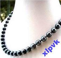 Ожерелье Черно-Серый Жемчуг 12 мм,18k GP,Австралия