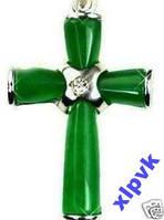 Крестик Зеленый Жадеит 38 х 25 мм-18к GP-.ИНДИЯ