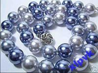 Ожерелье Черно-Сине-Серый Жемчуг-10мм-Австралия
