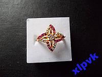 Кольцо Белый Сапфир,16 Роз.Рубинов-18р-375пр-ИНДИЯ
