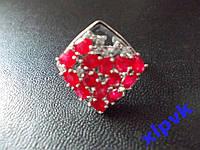 Кольцо 14 натуральных рубинов ,17.2.р,925,ИНДИЯ-УЦЕНКА