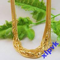 Шикарная Цепочка -Змея-1.2 мм,42 см-18k GP-Gold