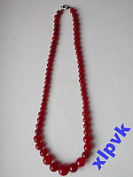 Ожерелье RED RUBY-Красный Жадеит 6-14мм.ИНДИЯ