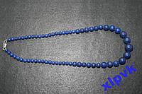 Ожерелье Темно-Синий Лазурит.6-14мм-18k GP-ИНДИЯ