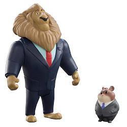 Набор фигурок Зверополис мер Лев златогрив и Лемминг бизнесмен / Zootopia Disney