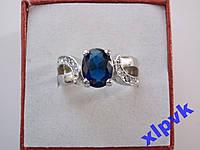 Кольцо Синий Сапфир 9х7 мм-17.8р-White 18kGP-ИНДИЯ