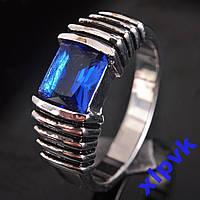 Кольцо Синий Сапфир 7х7мм,-18.2р-925-ИНДИЯ-УНИСЕКС