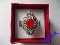 Кольцо натуральный рубин.Круг 7 мм,17.8 р-925 пр.-ИНДИЯ