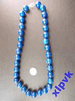 Ожерелье Жадеит-имитация Лапис Лазурит-12мм-.ИНДИЯ