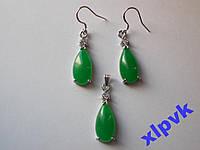 Набор Green Emerald-Зеленый Жадеит-Капли-ИНДИЯ