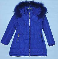 Зимнее пальто для девочки 5-9 лет DR Fashion синее