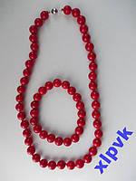 Ожерелье+Браслет,Красный Коралл -10мм-18k GP-ИНДИЯ