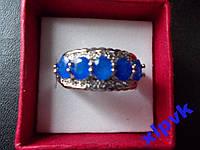 Кольцо 5 натуральных синих сапфиров 5 х 4 мм,17.5.р,925, ИНДИЯ
