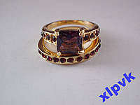 Кольцо 2 в 1,Красивые Аметисты-17 р-18k GP-ИНДИЯ