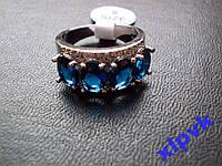 Кольцо 4 Красивых Синих Сапфира,18.5.р,925, ИНДИЯ
