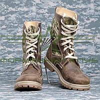 Берцы Женские  Нато кожа коричневого цвета с тканевыми камуфляжными вставками ЗСУ 36