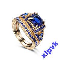 Кольцо 2 в 1,Синие Сапфиры-17.5 р-18k GP-ИНДИЯ