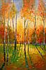 «Закат в осеннем лесу» картина маслом