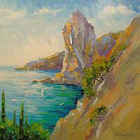 «Скалы на берегу моря» картина маслом