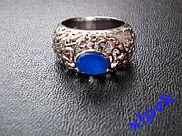 Кольцо Натуральный синий сапфир 9 х 6 мм-18.8 р-925-ИНДИЯ-Унисекс