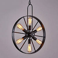 Подвесной светильник [ Loft Steampunk Wheel Black Star - 6 Lamp Edisons ] , фото 1