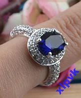 Кольцо Синий Сапфир-Овал 10х8 мм-18р-925пр-ИНДИЯ