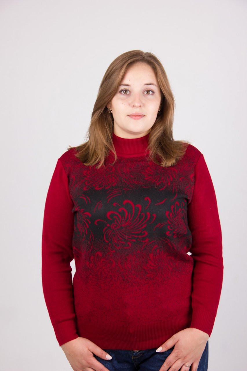 Модная кашемировая кофта в красном цвете с черным абстрактным рисунком