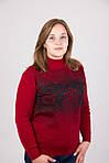Модная кашемировая кофта в красном цвете с черным абстрактным рисунком, фото 2